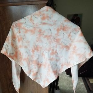 Vintage pink bird triangle scarf shawl